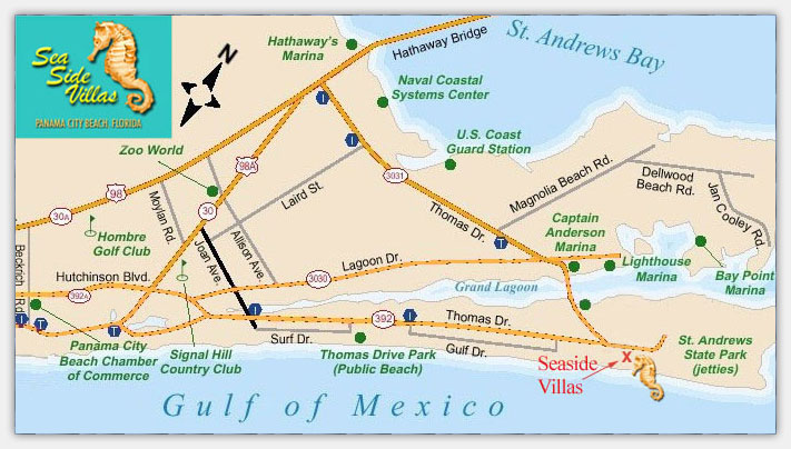 Map Of Panama City Beach Florida.Sea Side Villas Condominiums A Condominium Resort On The Gulf Of